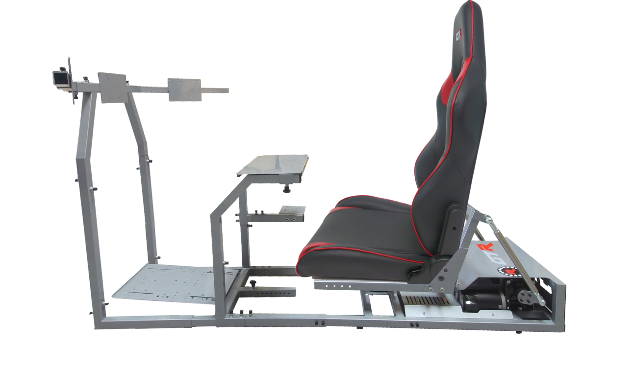 GTR Simulator GTM Motion Sim Model Silver Frame Black and Red Leatherette Seat