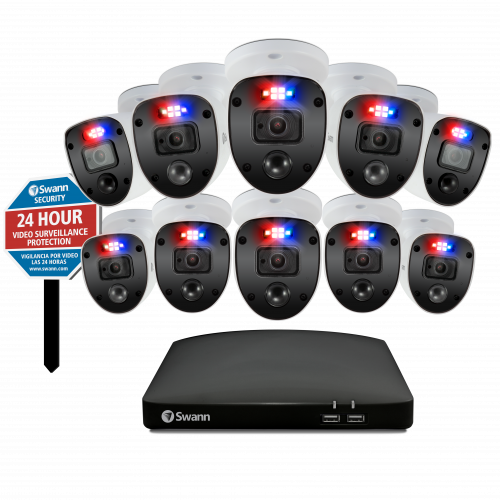 Enforcer 10 Camera 16 Channel 1080p Full HD DVR Security System & Security Yard Stake Sign