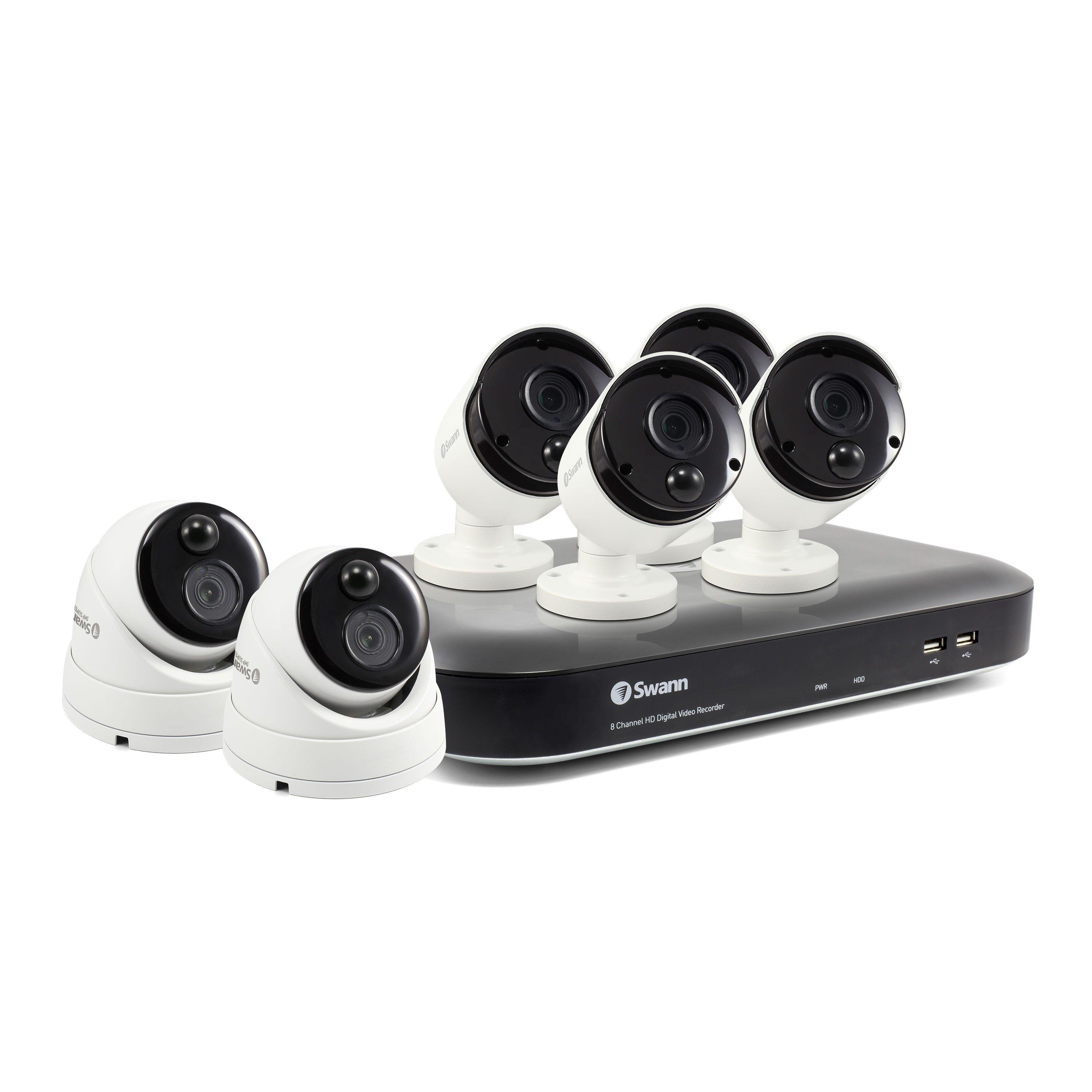Swann 8 Channel Security System: 4K Ultra HD DVR-5580 with 2TB HDD & 6 x 4K Thermal Sensing Cameras