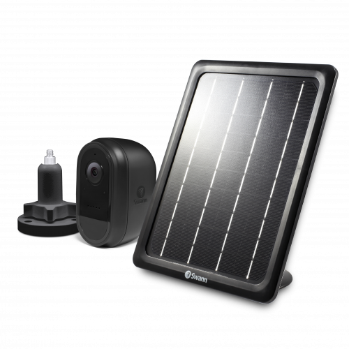 Wire-Free Black 1080p Security Camera with Solar Charging Panel & Outdoor Stand