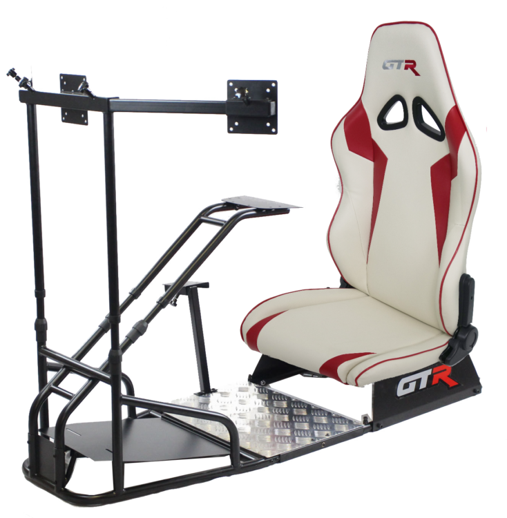 GTSF Model Black Frame with Shifter Mount Triple Monitor Mount with White and Red Leatherette Seat